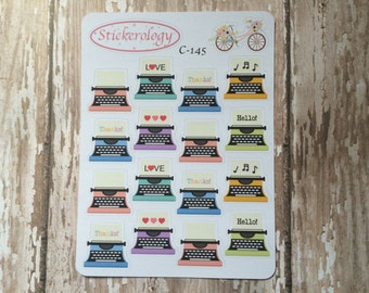 Typewriter Stickers, Thank You Stickers, Note Writing Reminder Stickers,  C-145.