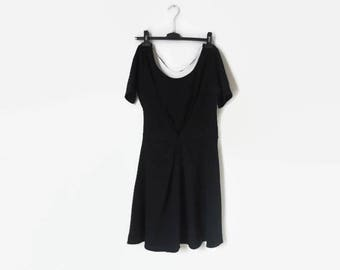 Black midi dress with short sleeves / / open back