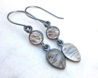 Black rutile quartz earrings, rutilated quartz dangle earrings, tourmaline quartz gemstones, modern oxidized sterling silver drop earrings