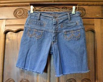 70's Blue Jean Shorts,Jandy Jeans,Cut offs,Vintage Boyfriend long slouchy style,orange threading