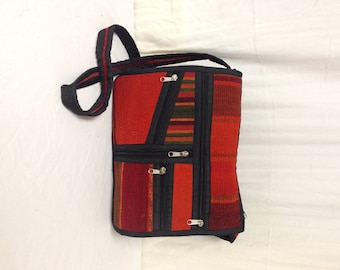 Kilim Purse ,bag,saddle bag,Multi Pocket ,Shoulder Bag ,Orange ,Black