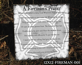FIREMAN: Fireman Sign, Sign for Fireman, Fireman's Wife, Occupational Sign, Home Decor, Sign for the Home, A Fireman's Prayer, Wooden Sign