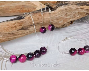 Pink & Black Agate Set, Agate Jewellery, Agate Necklace, Drop Earrings, Jewellery Set, Jewellery Gift Set, Sterling Silver, Agate Bracelet
