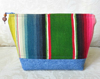 Colorful Serape and Denim Zip Pouch, Eco Friendly, Repurposed Textile Clutch