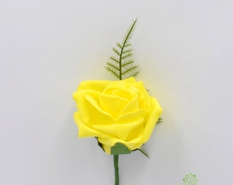 Artificial Wedding Flowers, Yellow Foam Rose Buttonhole