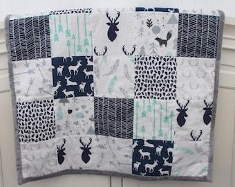 Woodland Baby Quilt. Minky Quilt Blanket. Boy Quilt. Woodland Baby Blanket