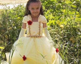 Disney Inspired Belle Beauty and the Beast Tutu Dress Costume. Princess Parties, Birthdays, Photos, Halloween Costume