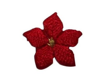 ID 6715 Lot of 3 Red Poinsettia Flower Patch Blossom Embroidered IronOn Applique