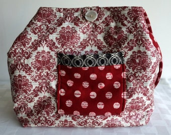 Red Shimmer Damask-Bucket Style Purse