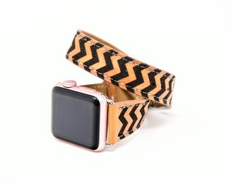 Double Tour Apple Watch Band 38mm, Double Tour Apple Watch Strap 42mm, Apple Watch Leather, Chevron Apple Watch Band, Apple Watch 3 Band
