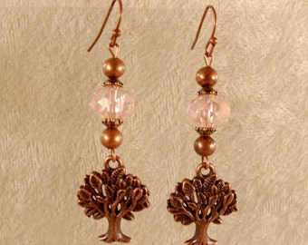 Tree of Life Earrings - Pink Crystal with Antique Copper Findings - E101