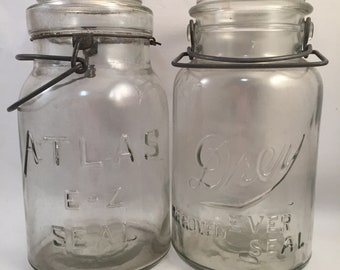 2 Vintage Mason Jars without Lids, Large Size, Atlas E-Z Seal and Drey Ever Seal Front Logos, Wire Clamp Rustic Decorative Jars, Flower Vase