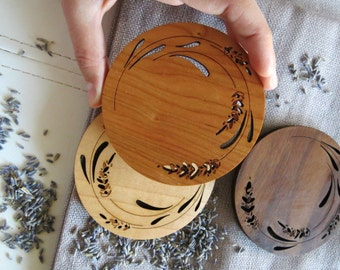 Wood Coasters - Set of 2 - Engraved Wood Coasters - Lavender
