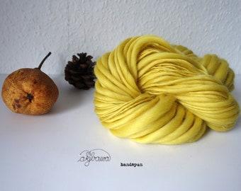 handspun thick/thin lemon-yellow merino wool