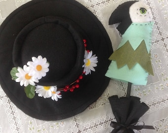 Mary poppins inspired hat and parrothead umbrella prop!