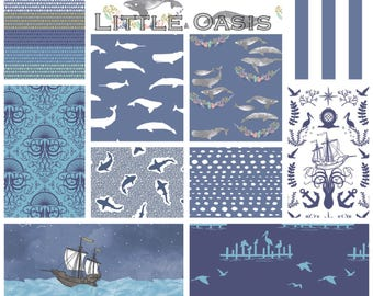 Organic Baby Bedding; Nautical Whale, Sailor, Ocean; Choose: blanket, quilt, sheet, skirt, changing cover, pillow, rail cover