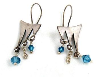 Blue Crystal Earrings, Sterling Silver Earrings, Chandelier Earrings, Sparkling Dangle Earrings, Contemporary Jewelry