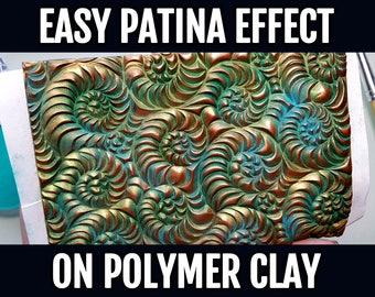 Polymer Clay Video Tutorial: Easy Patina effect on Polymer Clay! +3 additional ways of coloring textured polymer clay veneer!