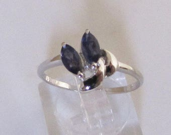 Adorned with two size 54 Iolite silver ring