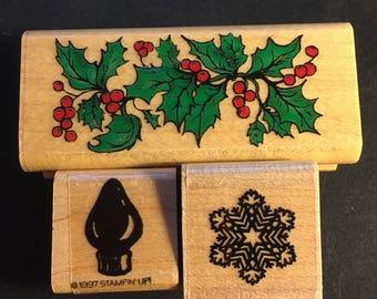 3 Christmas Stamps. Holly, Christmas Bulk, and Snowflake (as is),