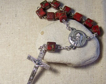 handmade Catholic pocket rosary tenner with brick red picasso cube beads in silver