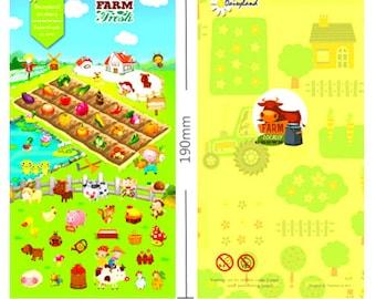 1 sheet Cartoon Farm Dog dairy cow vegetable animals corn Diary filofax Sticker