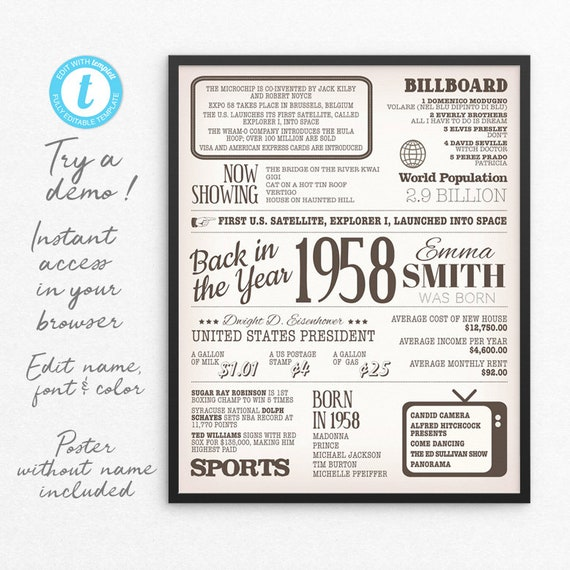 1958 Birthday Poster, 1958 Birthday Sign, 1958 Birthday Gift, Back in 1958 60 years ago Newspaper Poster INSTANT DOWNLOAD