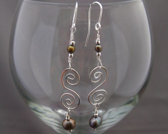 Iridescent Pearl Earrings Sterling Celtic Spirals June Birthstone