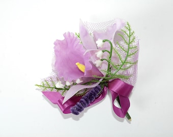 1940s - 1950s - Purple Orchid & Lilly of the Valley Plastic Corsage w/ Tulle - True Vintage