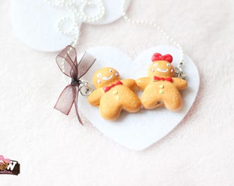 Christmas necklace - Gingerbread-dear with small brown Organza bow