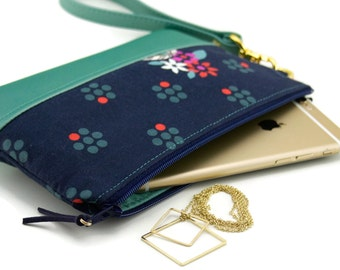 cell phone wallet – navy and green – wristlet purse – Date Night Clutch