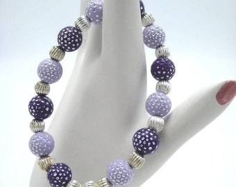 Beaded Stretch Silver Sparkle Polka Dot Beaded Bracelet in Purple and Lavender with Silver