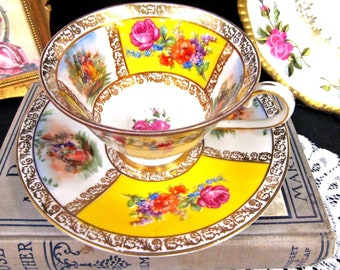 SCHUMANN tea cup and saucer courting couple love story TEACUP dresden rose set