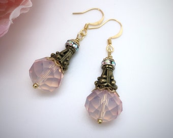 Pink Crystal Drop Earrings, Dangle Earrings, Pink Crystal Earrings, Beaded Earrings, Elegant Earrings, Jewelry Woman, In Style Jewelry,