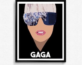 Lady Gaga Portrait- Feminist Icon, Minimalist Print, Wall Art Decor