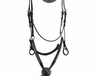 Figure 8 Premium Leather English Bridle with Turquoise Swarovski Elements with Rubber Reins