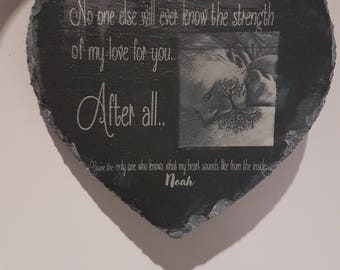 Personalised Laser Engraved Heart Slate with Image Keepsake - Baby, Birthdays, Occasions, Mother's Day, Father's Day, Wedding Gifts