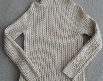 Tan Turtle Neck Cable Knit Cotton Sweater