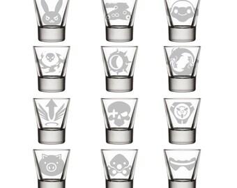 Overwatch Ultimate Glasses 1, D.VA, Bastion, Lucio, Reaper, Junkrat, Hanzo, Mercy, McCree, Tracer, Roadhog, Widowmaker, Soldier 76