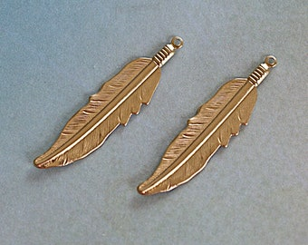 Native Feather, Gold Brass Pendant -45x11mm- Earring Dangles - 2 Pieces