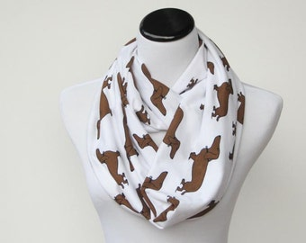 Scarf for dog lovers, mom toddler infant matching scarf dog print scarf Infinity scarf loop scarf white brown dachshund dog scarf circle