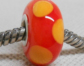 Orange Large Hole Lampwork Bead Bright Orange with Light Orange Dots Silver Cored
