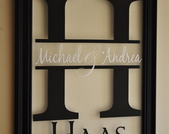 Personalized Family Name Sign Picture Frame Wall Sign 13x16 overall size