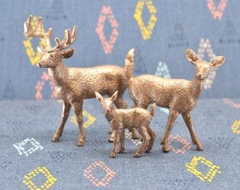 Deer Family Cake Topper Figurines - Rose Gold
