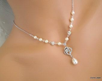 bridal necklace, backdrop pearl necklace,  Wedding Rhinestone necklace, backdrop wedding necklace, Statement Bridal necklace, EVELINA