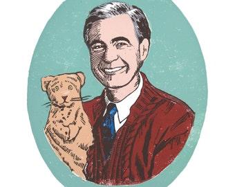 Mister Rogers/Linocut/Digital Print/Children's Art