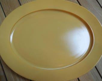 Vintage Anchor Hocking Milkglass Harvest Gold Oval Platter