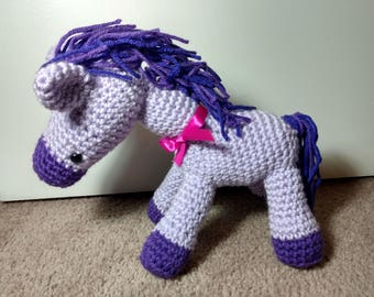 Amigurumi crochet purple horse, purple pony