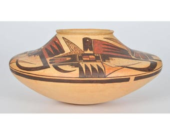 Michael Hawley-Chakoptewa (American, 1948-2012) Substantial/Exceptional Poly  chrome Pottery Jar #1122