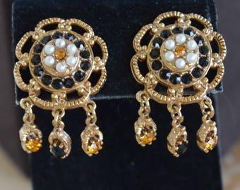 Black, Yellow Topaz, Seed Pearl Clip Earrings, Gold tone, Vintage (B7)